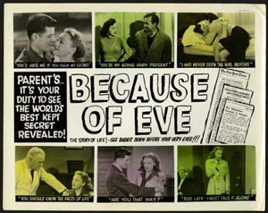 Lobby card from Because of Eve (1948)