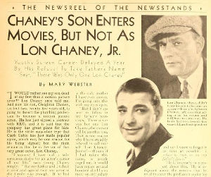 Lon CHaney Jr. news clipping